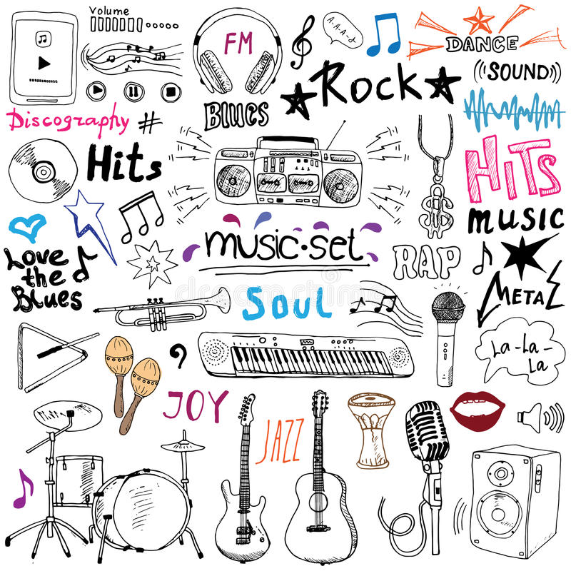 Download Music Items Doodle Icons Set. Hand Drawn Sketch With Notes, Instruments, Microphone, Guitar, Headphone, Drums, Music Player And Mu Stock Vector - Illustration of musical, abstract: 58473951
