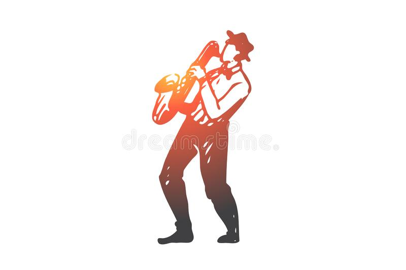 Music, jazz, play, saxophone, performance concept. Hand drawn isolated vector. vector illustration