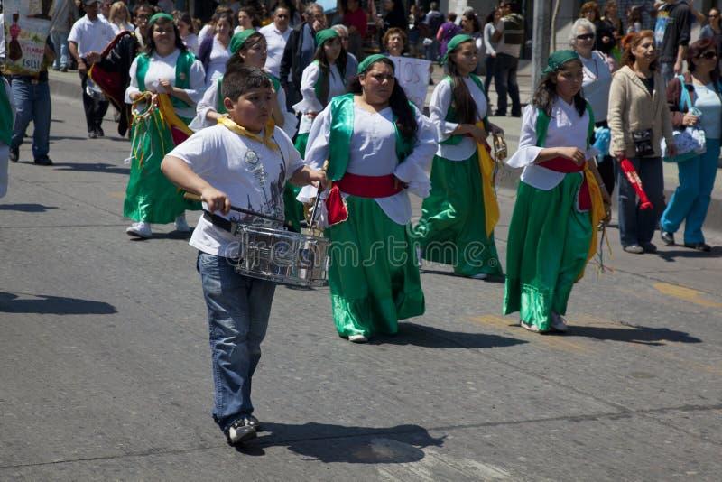 Music at Joy of Being Catholic parade, Santiago stock photos
