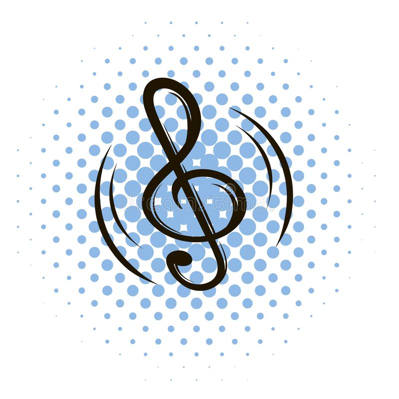 Music key comics icon. On a white background stock illustration