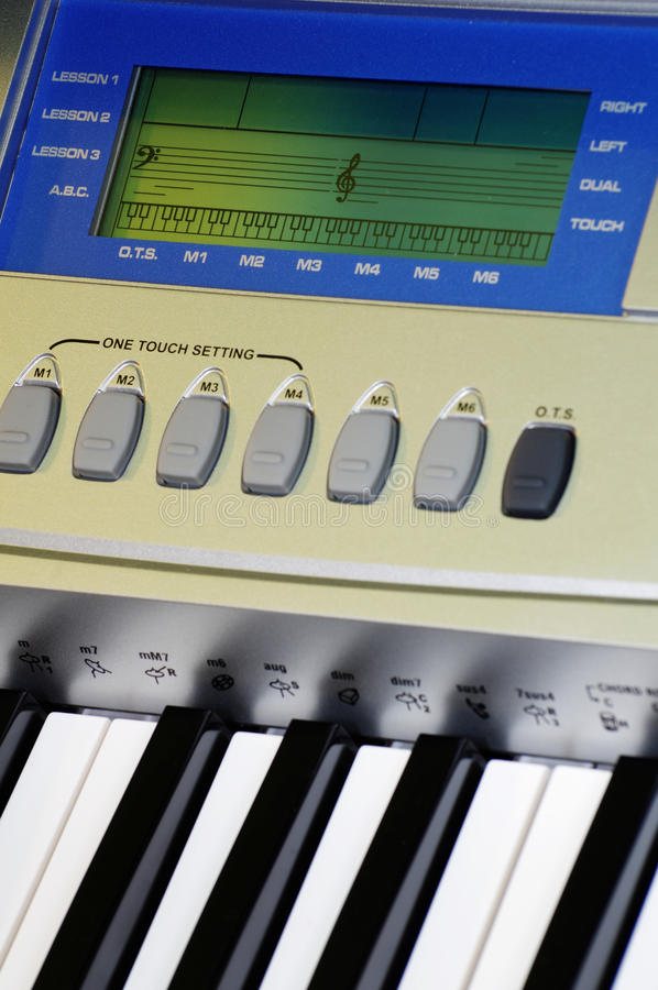 Music keyboard details stock image