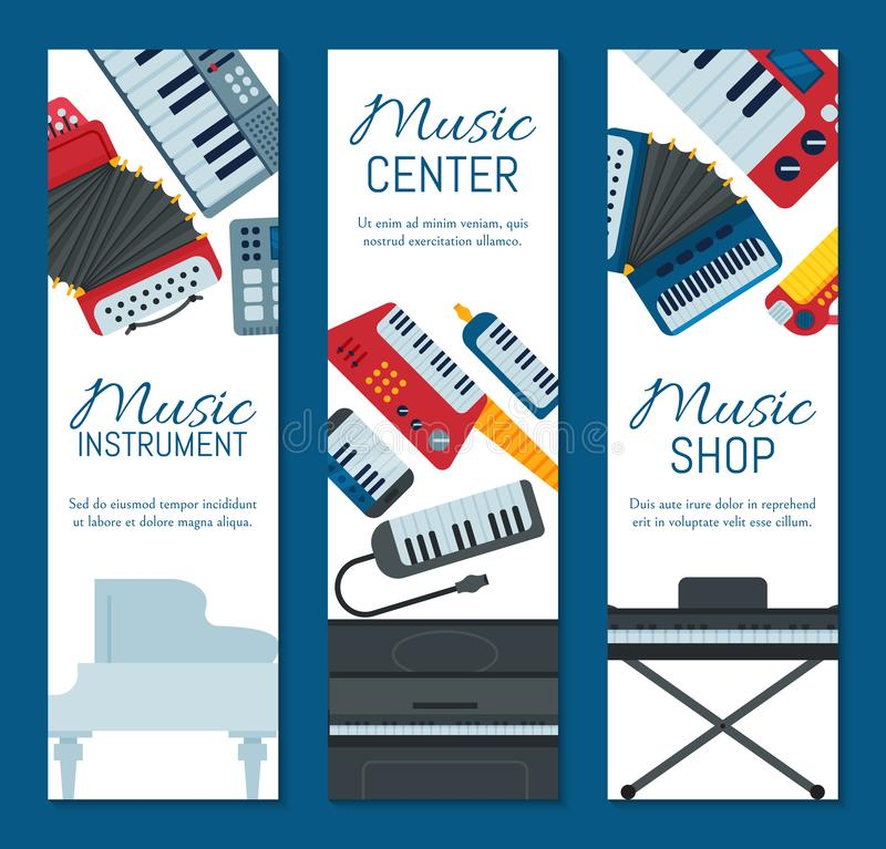 Music keyboard instrument playing synthesizer equipment banner design vector illustration. Harmony performance. Entertainment electric piano poster vector illustration