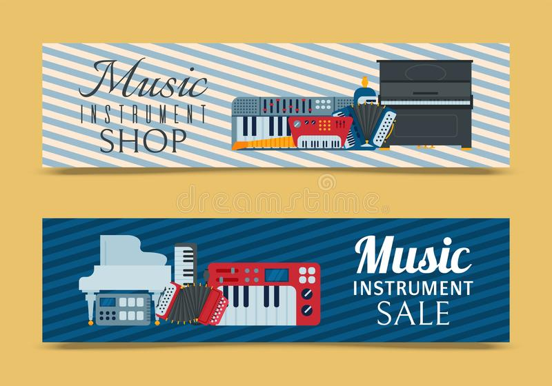 Music keyboard instrument playing synthesizer equipment banner design vector illustration. Harmony performance. Entertainment electric piano poster royalty free illustration