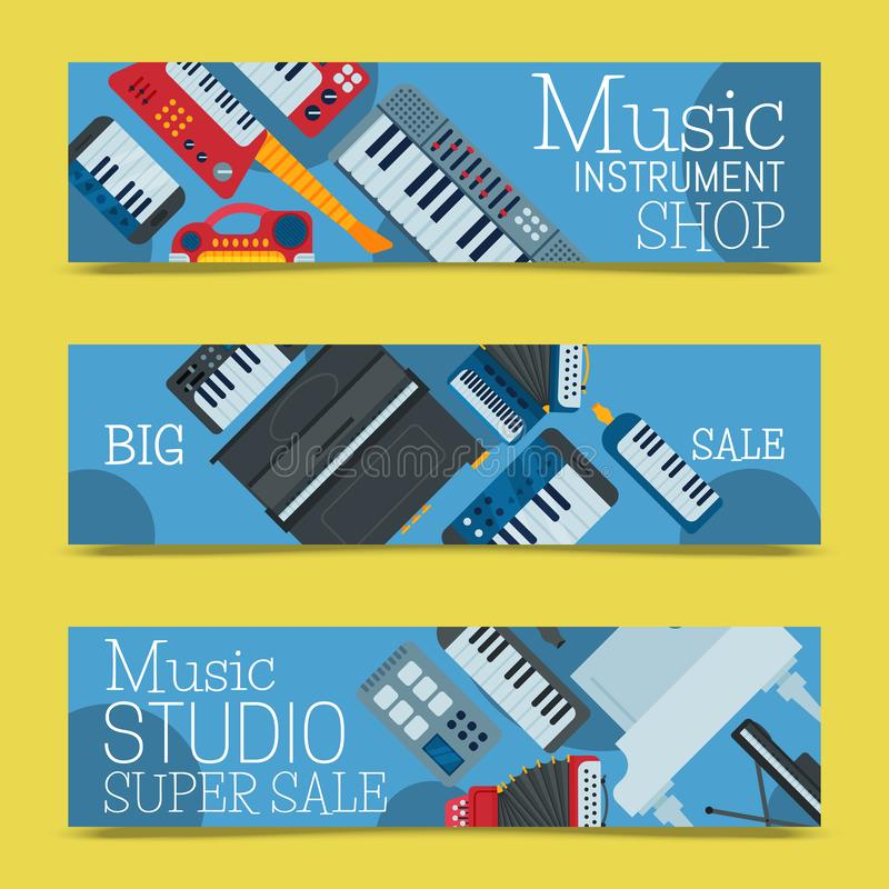 Music keyboard instrument playing synthesizer equipment banner design vector illustration. Harmony performance. Entertainment electric piano poster stock illustration