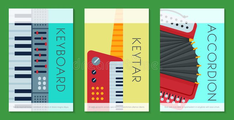 Music keyboard instrument playing synthesizer equipment cards design vector illustration. Harmony performance. Entertainment electric piano poster. Instrumental vector illustration