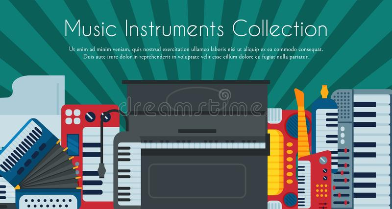 Music keyboard instrument playing synthesizer equipment design vector illustration. Harmony performance entertainment. Electric piano poster. Instrumental song vector illustration