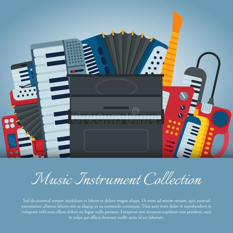 Music keyboard instrument playing synthesizer equipment design vector illustration. Harmony performance entertainment. Electric piano poster. Instrumental song stock illustration