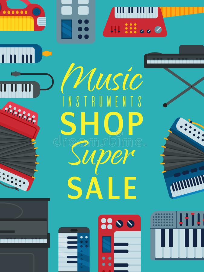 Music keyboard instrument playing synthesizer equipment shop sale banner design vector illustration. Harmony performance. Entertainment electric piano poster royalty free illustration