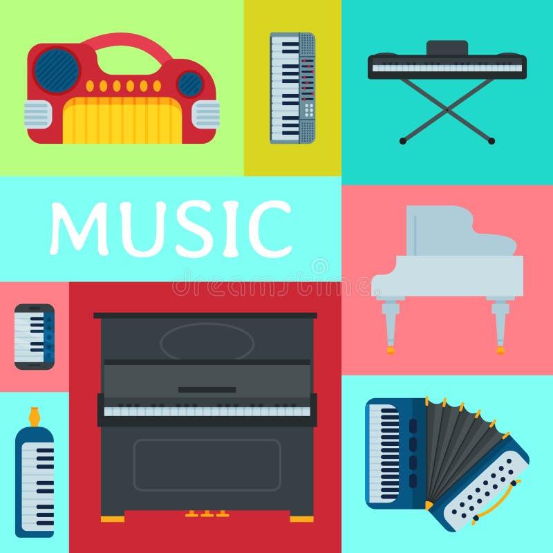 Music keyboard instrument playing synthesizer equipment vector illustration. Harmony performance entertainment electric. Music keyboard instrument playing royalty free illustration