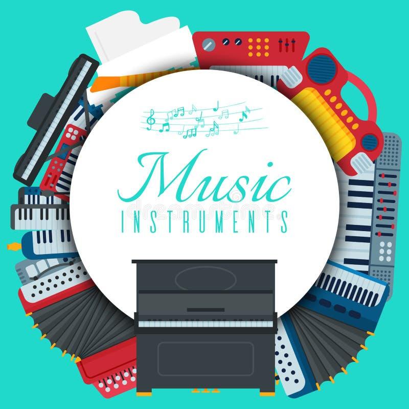 Music keyboard instrument playing synthesizer equipment vector illustration. Harmony performance entertainment electric. Music keyboard instrument playing vector illustration