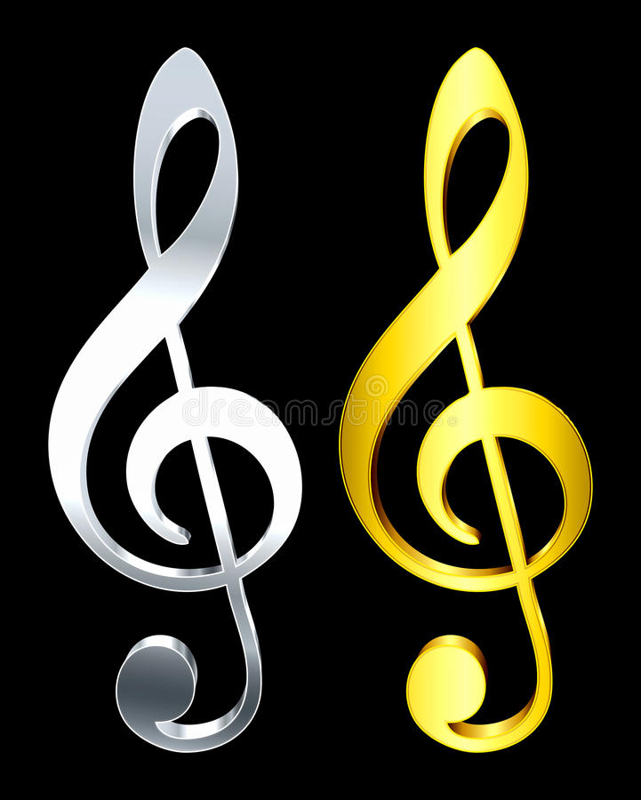 Music key. 3D Rendered music keys with gold and silver gradients vector illustration