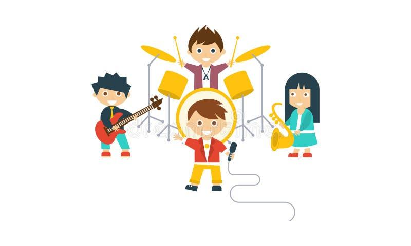 Music kids band, children playing different instruments, drummer, saxophonist, singer, guitarist vector Illustration royalty free illustration