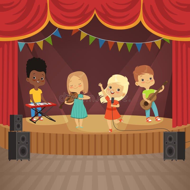 Music kids band on concert scene stock illustration