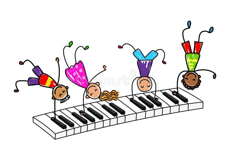 Music kids.Cartoon kids playing piano keyboard. royalty free illustration