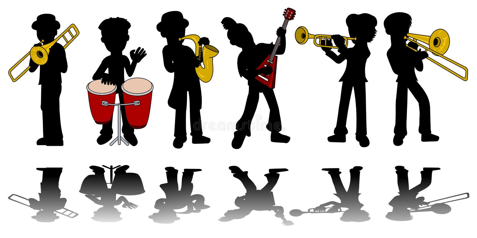 Music kids silhouettes collection stock illustration