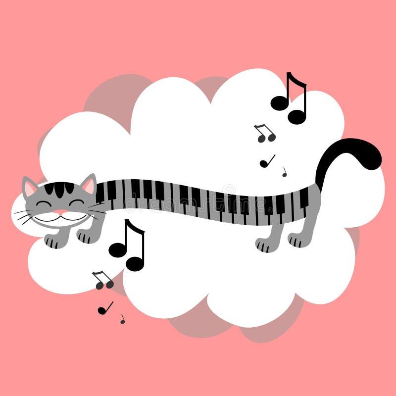 Music kitty. Cute greeting card stock illustration