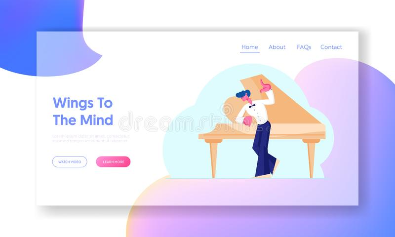 Music Lesson, Training Practicing Website Landing Page. Young Man Musician or Music Teacher Stand at Grand Piano stock illustration
