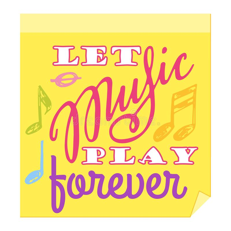 Music lettering vector musical typography graphic sign calligraphy text or quote of love relax and music sound freedom royalty free illustration
