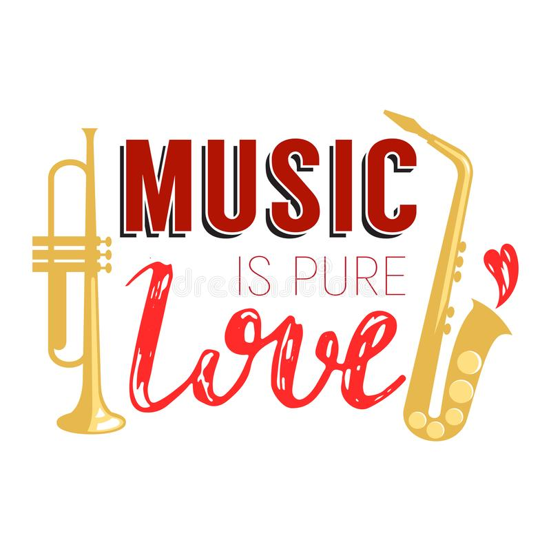 Music lettering vector musical typography graphic sign calligraphy text or quote of love relax and music sound freedom vector illustration