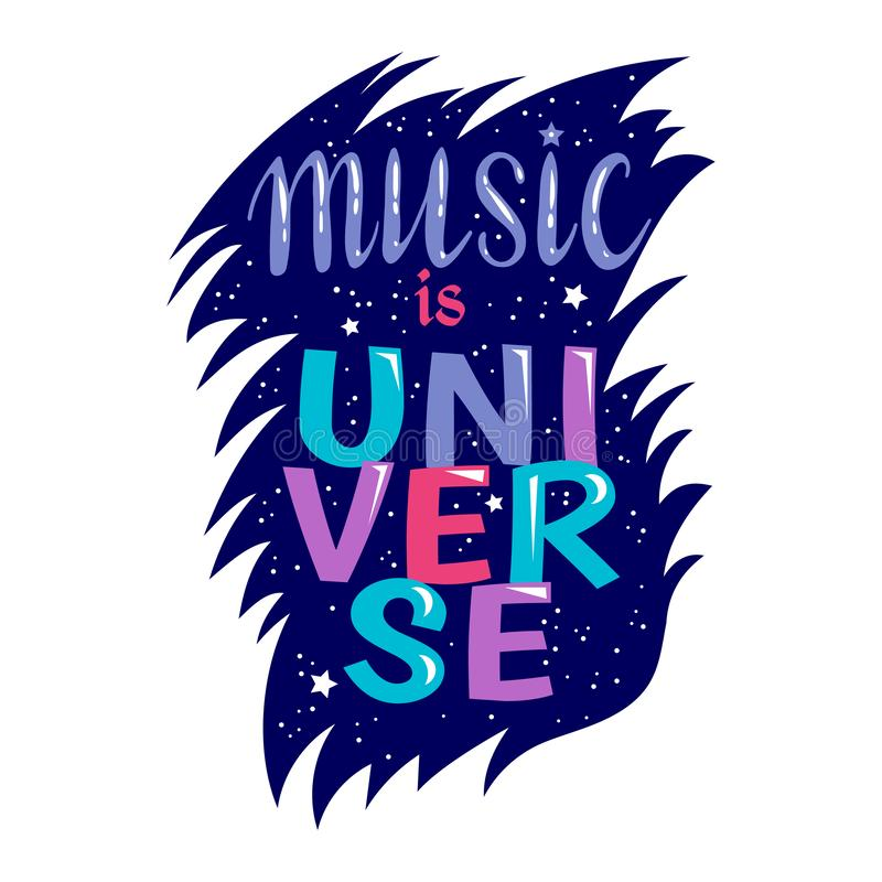 Music lettering vector musical typography graphic sign calligraphy text or quote of love relax and music sound freedom stock illustration