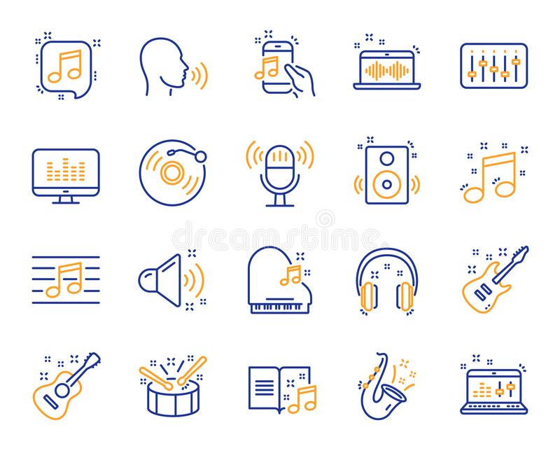 Music line icons. Set of Acoustic guitar, Musical note and Vinyl record. Vector. Music line icons. Set of Acoustic guitar, Musical note, Vinyl record icons. Jazz stock illustration