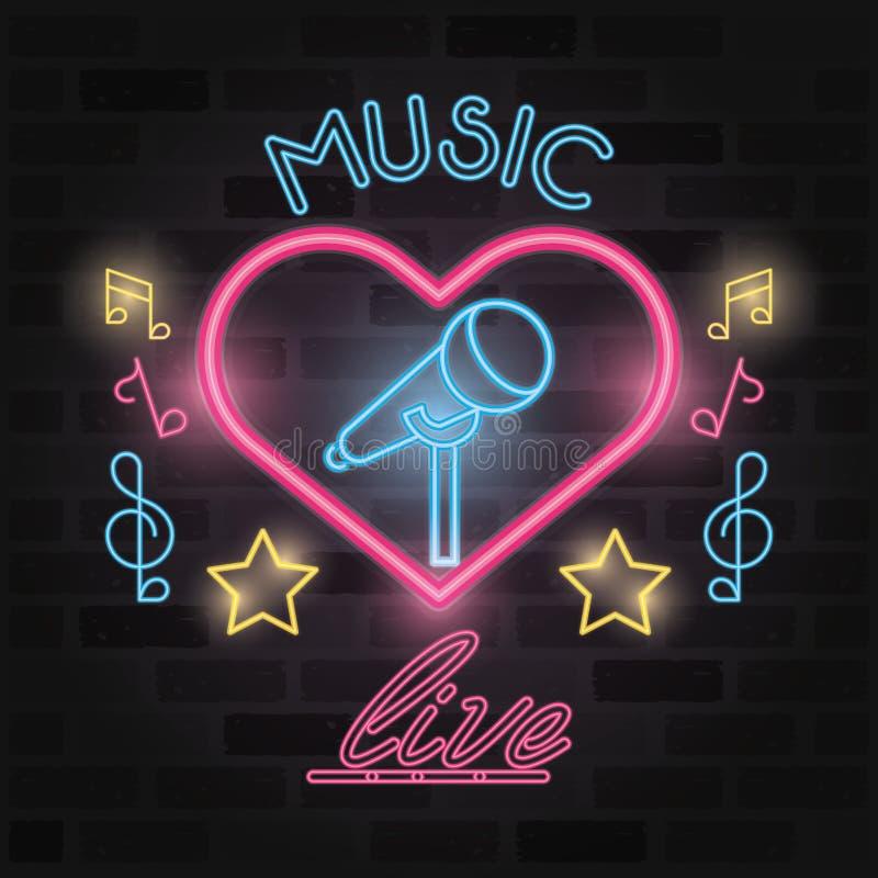Music live label neon lights royalty free illustration