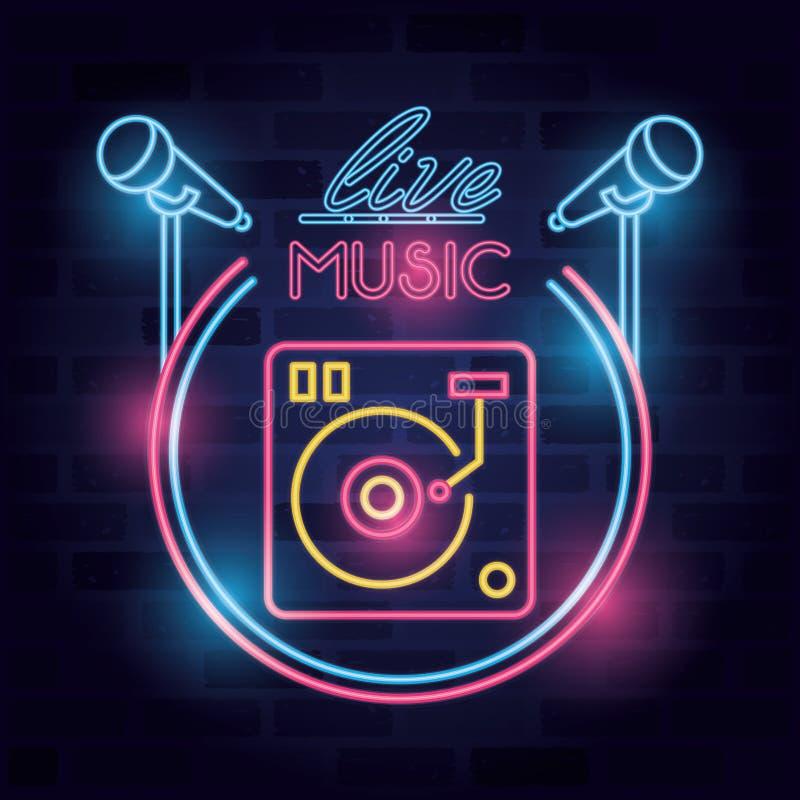 Music live label neon lights vector illustration
