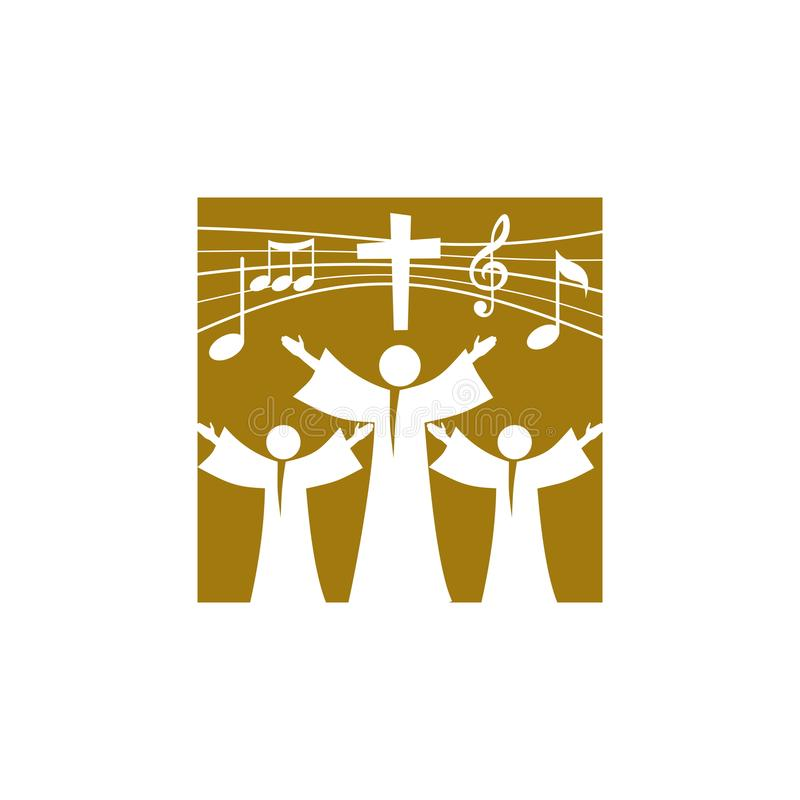 Music logo. Christian symbols. Believers in Jesus sing a song of glorification to the Lord. royalty free illustration