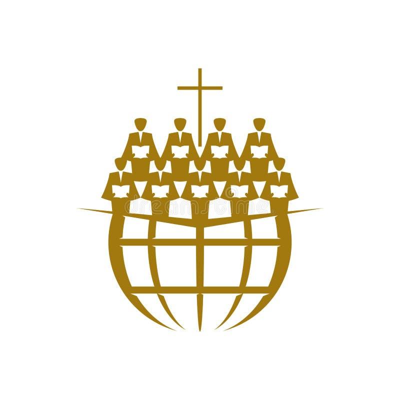 Music logo. Christian symbols. A Chorus Throughout the Earth Praises Jesus Christ. Music logo. Christian symbols. A Chorus Throughout the Earth Praises Jesus stock illustration