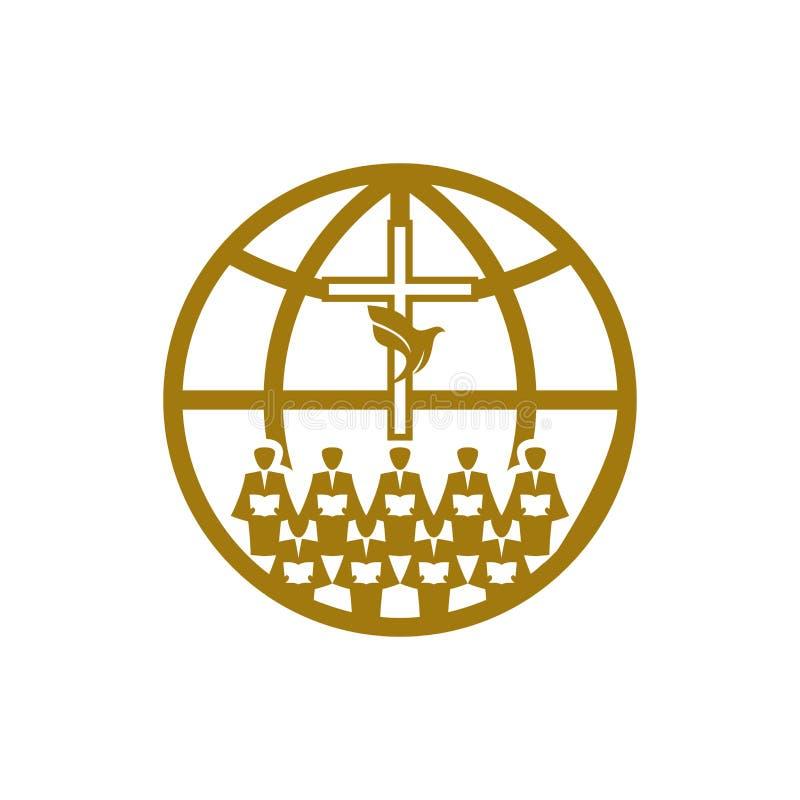 Music logo. Christian symbols. A Chorus Throughout the Earth Praises Jesus Christ. Music logo. Christian symbols. A Chorus Throughout the Earth Praises Jesus royalty free illustration