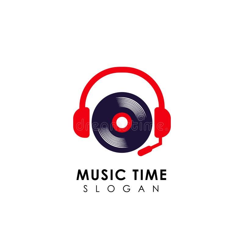 Music logo design with headphone and vinyl illustration. dj logo design template stock illustration
