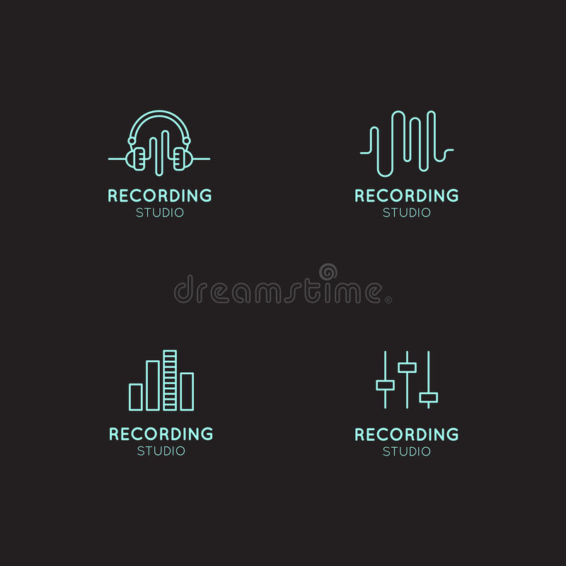 Music Logo Set. Recording Studio Labels. Podcast and Radio Badge with Sample Text. Design with Waves, Headphones and Mixing consol. Simple Vector Icon Style stock illustration