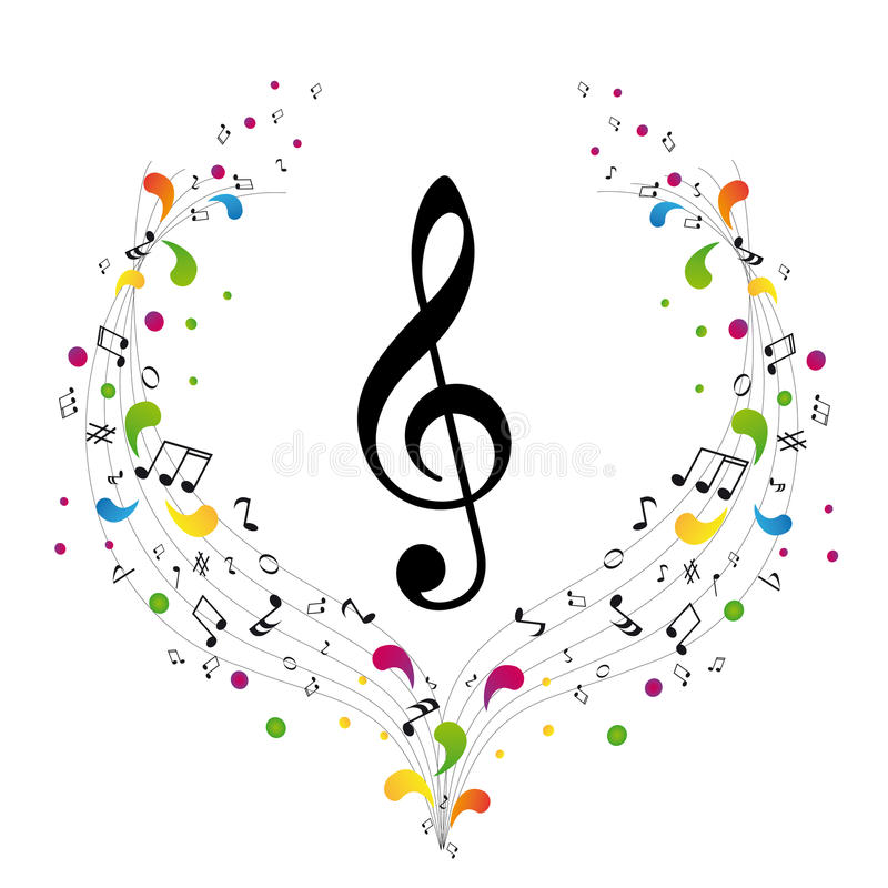 Music logo - treble clef. And notes stock illustration