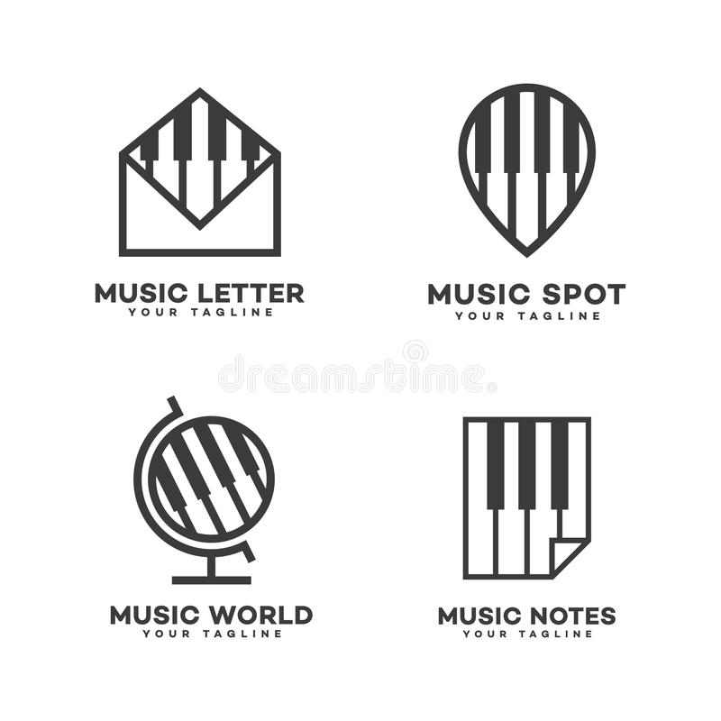 Music logos set stock vector. Illustration of melody - 114928826