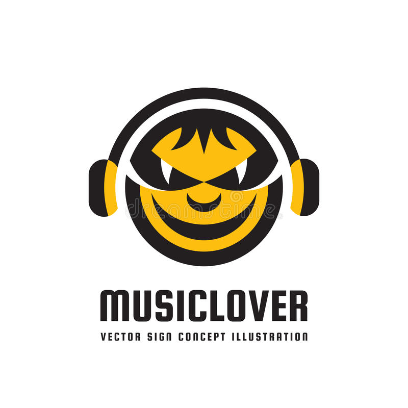 Music lover - vector logo concept illustration in flat style design. Audio mp3 sign. Modern sound icon. Dj symbol. Human head. Music lover - vector logo concept stock illustration
