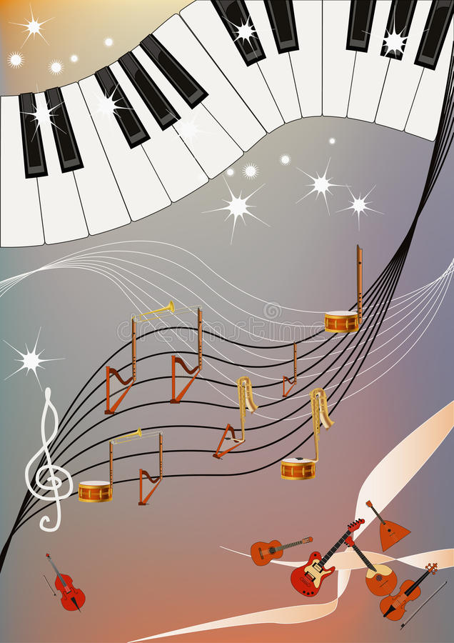 Download Music madness stock vector. Image of harp, flute, antique - 18630238
