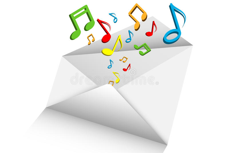 Music mail 3d on white background vector illustration