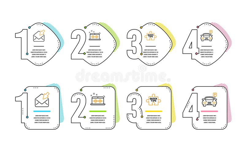 Music making, Open mail and Quick tips icons set. Parking sign. Dj app, View e-mail, Tutorials. Car park. Vector. Music making, Open mail and Quick tips icons stock illustration