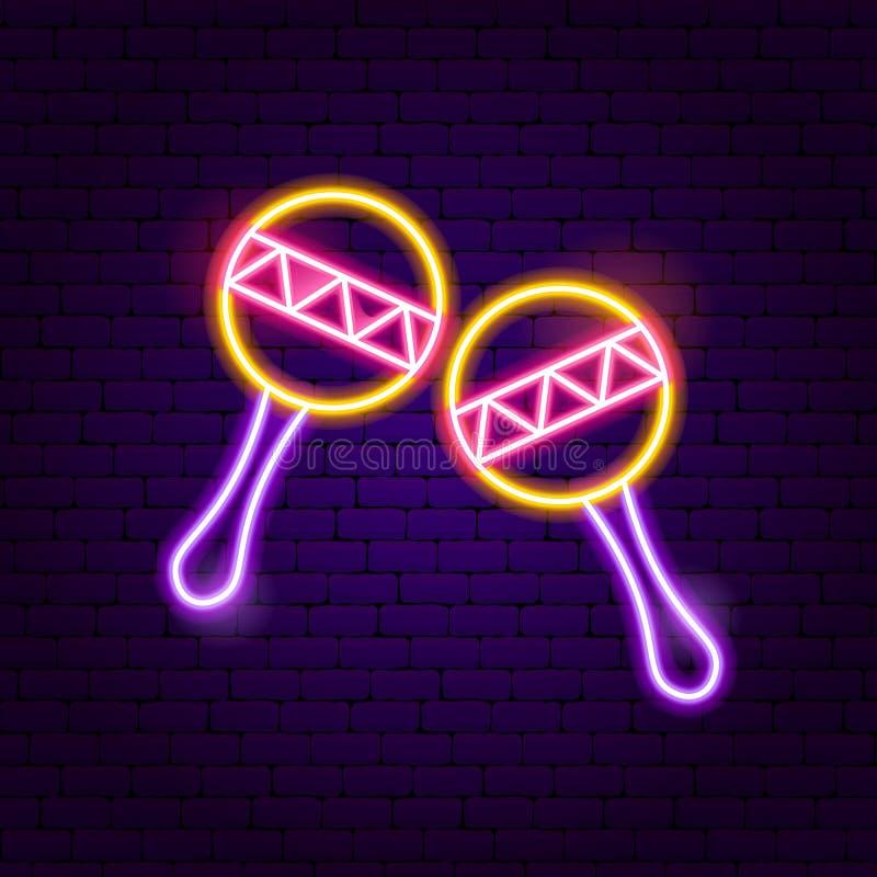 Music Maracas Neon Sign vector illustration