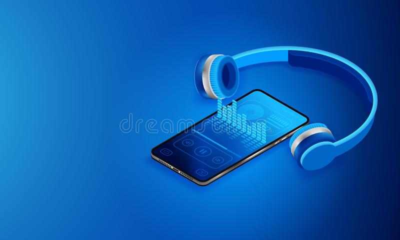 Music media player in smartphone. The interface of the program to play music. Modern silver phone and wireless headphones. royalty free illustration