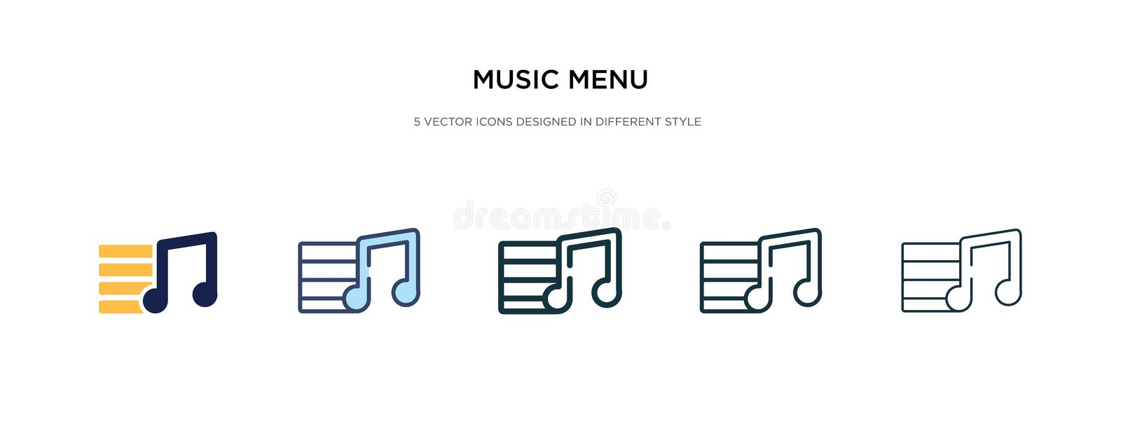 Music menu icon in different style vector illustration. two colored and black music menu vector icons designed in filled, outline royalty free illustration