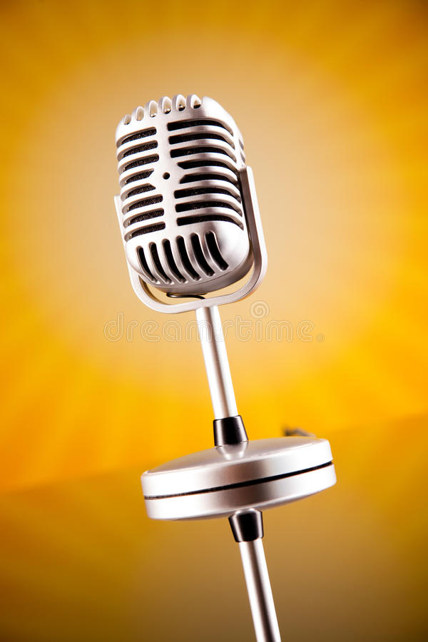 Music microphone, music saturated concept.  stock photo