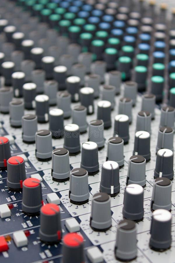 Music mixer. Close up shot of music mixer royalty free stock image