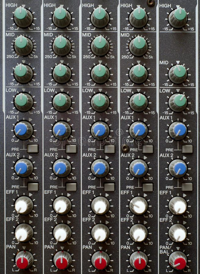 Download Sound Mixer Knobs stock photo. Image of multiple, deejay - 19894390