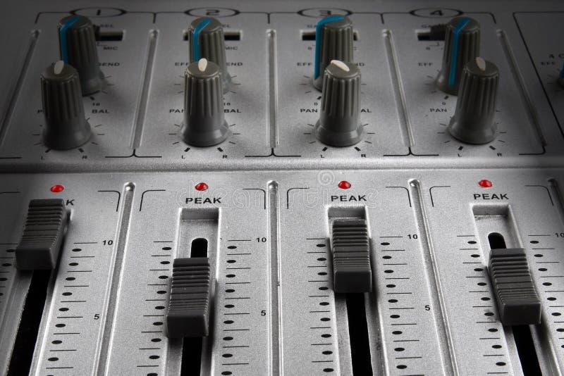 Music mixer. Panel of music mixer - closeup view royalty free stock images