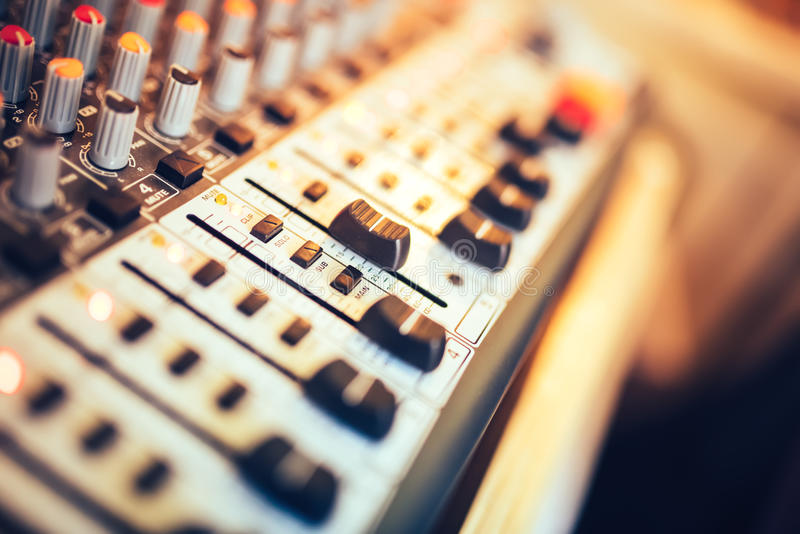 Music mixer button, setting volume. Music production mixer, adjustment tools royalty free stock photo