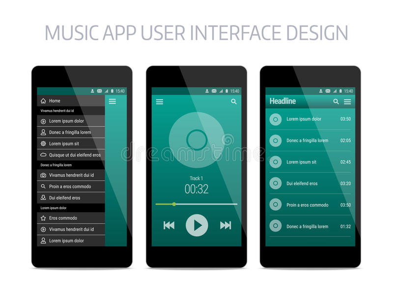 Music modern app user interface design. Vector template with navigation and player royalty free illustration