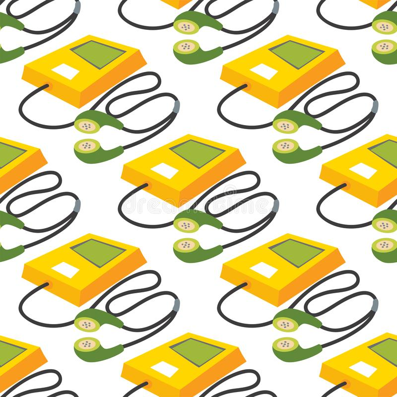 Music mp3 player with headphones yellow digital sound communication device seamless pattern background vector stock illustration