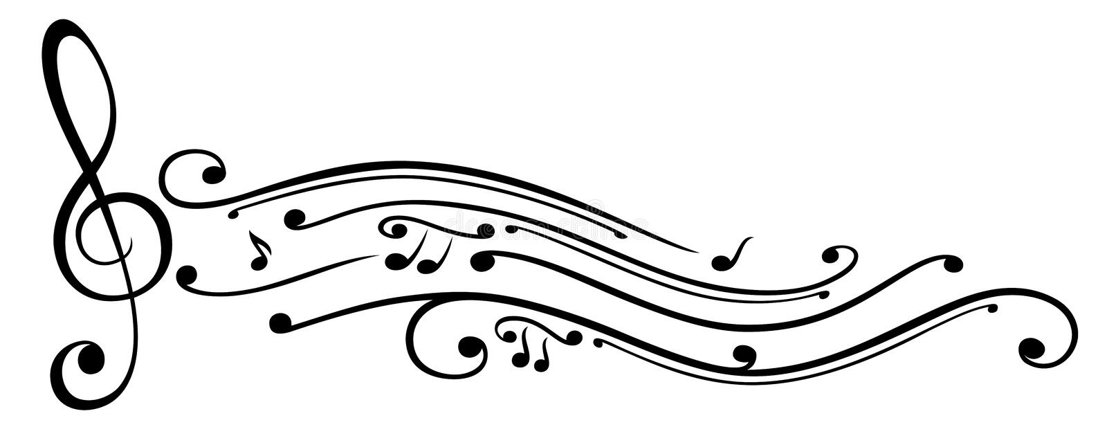 Music, music notes, clef. Abstract clef with music notes vector illustration