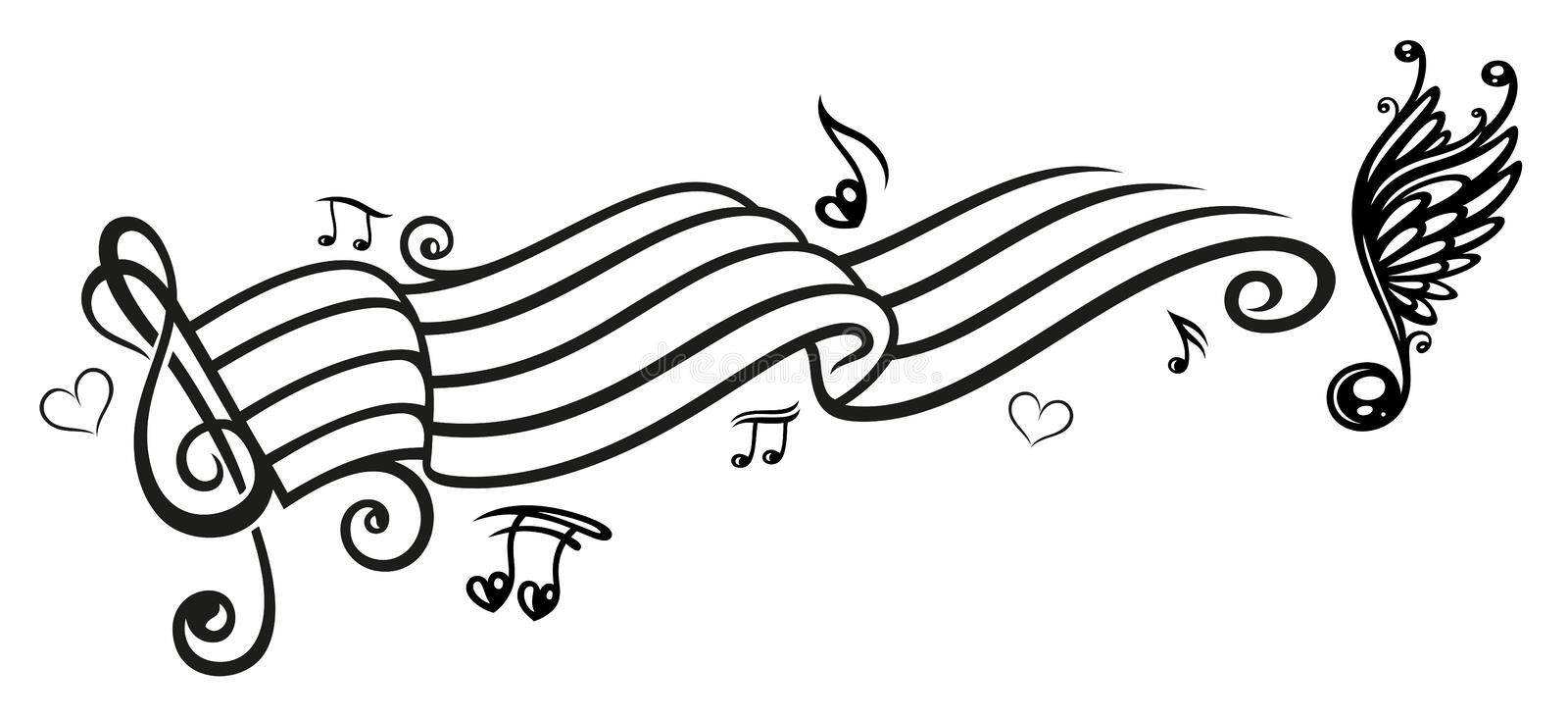 Music, music notes, clef. Clef with music notes, black tribal royalty free illustration